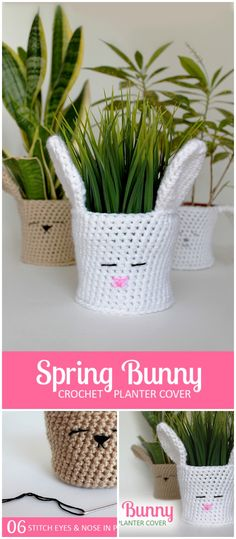 I have rounded up some of the best and interesting free #crochet #decor patterns for your home.Spring Bunny Crochet Planter Cover