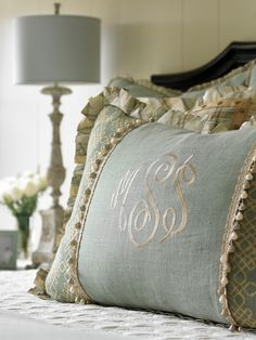 Embroidered bedding. Traditional bedroom with Embroidered bedding. #Embroideredbedding #TraditionalBedroom #Bedding Interiors by Mary McWilliams from Mary Mac & Co.