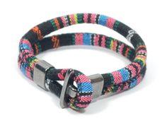 black and fuscia aztec bracelet  ethnic bracelet by CozyDetailz