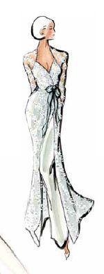 Asymmetrical wedding down design by Oleg Cassini.