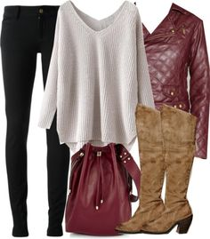 White sweater / Bar III quilted jacket / Gucci black skinny jeans / Free People high heel boots / Venus bucket bag