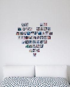 Monday love A heart deco looks always great ☺️ Diy Wall Decor For Bedroom, Cute Room Decor, Diy Bedroom, Teen Wall Decor, Bedroom Ideas, Diy Wand, Bedroom Pictures, Home Decor Pictures, Heart Photo Walls