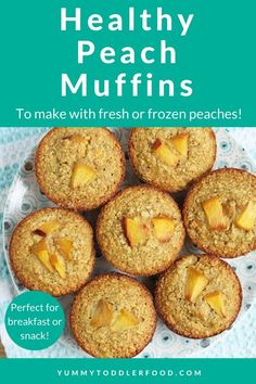 These healthy Peach Muffins are super wholesome and so easy—and are totally packed with naturally sweet flavor. Bonus: They store well in the fridge for days! #glutenfree #peachmuffins #toddlerfood #healthymuffins Healthy Peach Muffins, Peach Oatmeal Muffins, Healthy Breakfast Muffins, Banana Breakfast, Cheap Clean Eating, Clean Eating Snacks, Healthy Snacks, Healthy Kids, Baby Muffins