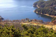 View of Daechung lake in Cheongju, South Korea