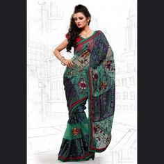 Classy Wine Color & Teal Green Embroidered Saree for your friends engagement.  Price: £51.00