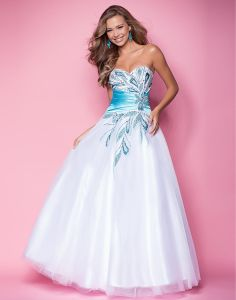 Ball Gown Satin Tulle Strapless Empire Floor-Length Zipper Sleeveless Beading Prom Dress - gopromdres.com
