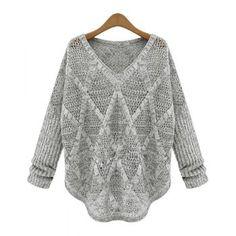 Ahueca hacia fuera manga larga estilo casual con cuello en V suéter de acrílico de la Mujer para Vender - La Tienda En Online IGOGO.ES