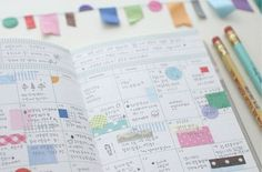 Awesome looking washi tape and translucent sticker planner setup at Decor8.