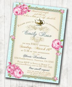 Tea Party Invitation - Birthday Shabby Chic Floral Vintage Birthday Invitation For Girl - Soft Pink and Gold - DIY Printable on Etsy, $23.07 AUD