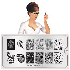 moyou Nail Art design Image Plates-pro collection 05 I love the Zebra face. Moyou Stamping, Nail Art Stamping Plates, Nail Plate, Nail Art Designs Images, Natural Gel Nails, Nail Stencils, London Nails, Image Plate, Stuffed Animal Patterns