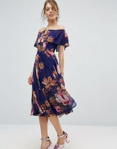ASOS Navy Floral Bardot Midi Dress