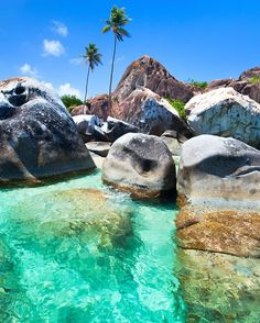 #TheBaths combines blue water with beautiful rock formations. It's a sight you have to see to believe. Repin it to your #BeachBucketList.
