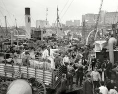 """Circa 1906.  """"Bannan docks, New York.""""  8x10 dry plate glass negative, Detroit Publishing COmpany.  Fascinating Detail  - worth looking at full size  http://www.shorpy.com/node/11976?size=_original"""
