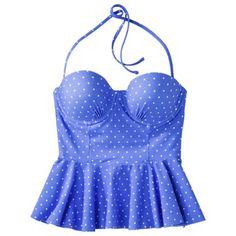 Xhilaration® Junior's Peplum Tankini Swim Top -Blue Polka Dot Print