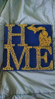 Michigan HOME String Art by EricaNailedIt on Etsy. School colors would be cute for longhorns