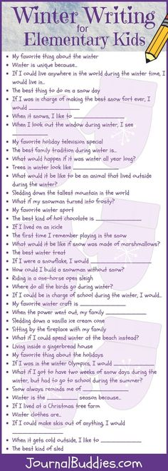 These 77 elementary writing ideas are specifically dedicated to wintertime and all its glorious activities. From sledding down the tallest mountain in the world to imagining what would happen if a snowman turned into Frosty, these prompts encourage kids to get creative while they come up with engaging and unique new ways to celebrate the winter months.