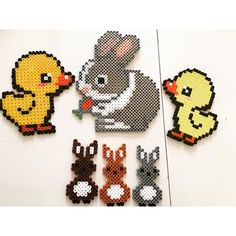 Easter hama beads by Easter Crafts, Fun Crafts, Crafts For Kids, Pearler Beads, Fuse Beads, Melting Beads, Easter Baskets, Plastic Canvas, Beading Patterns