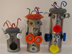 30 Recycled Tin Can Crafts that will Amaze. Great DIY Projects and tutorials to upcycle old tin cans. Kids Crafts, Tin Can Crafts, Projects For Kids, Diy For Kids, Craft Projects, Craft Ideas, Robot Crafts, Recycling Projects, Creative Crafts