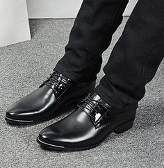 Mens Low Heel Pointed Toe Leather Black Shoes