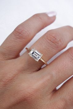 Emerald Diamond Solitaire Ring set East-West Diamond Solitaire Rings, Emerald Diamond, Emerald Cut Engagement, Engagement Rings, Diamonds, Silver Rings, Beautiful, Jewelry, Enagement Rings