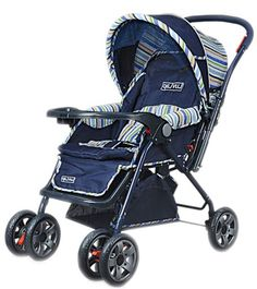 This Luvlap Navy Blue Stroller comes with an easy-to-use reversible handle bar, three-position reclining seat, five-point safety belt and, a large shopping basket. #BabyStroller #AllinOne #Stroller #Outdoor #BabyGear #Lilsta