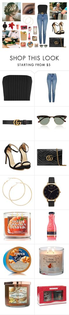 """""""Day with Harry in LA (Restaurant)"""" by louisericoul ❤ liked on Polyvore featuring Thierry Mugler, Topshop, Gucci, Ray-Ban, Olivia Burton, Carolina Candle, Yankee Candle, Hostess and harrystyles"""