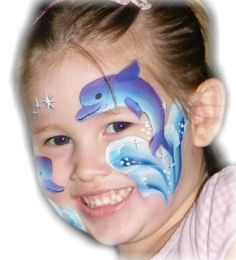 Bird++face+painting   Face painted using the Dolphin 1 Stroke, and the Blue Bird for the ...