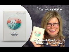 How to make a Sunset using the Masking Technique featuring the Stampin Up Wetlands Stamps - YouTube