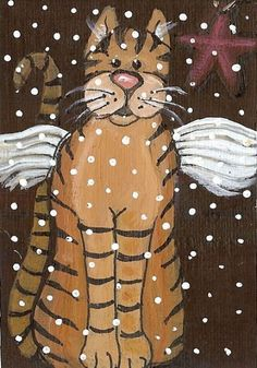 ACEO Folk Art Original Painting by Moody Fat Tabby Cat Christmas