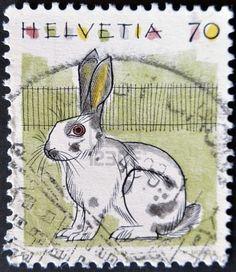 SWITZERLAND - CIRCA 1991: A stamp printed in Switzerland, shows the Rabbit, circa 1991