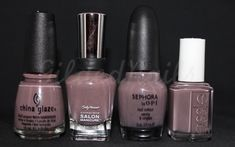 Left to Right - China Glaze Below Deck, Sally Hansen Commander in Chic, Sephora by OPI Metro Chic, Essie Merino Cool