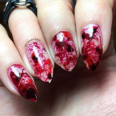 Blood splatter negative space halloween nails nail art