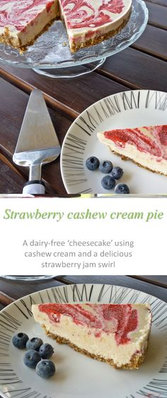 A dairy-free Paleo-friendly cheesecake substitute full of sweet strawberries and made with cashew cream