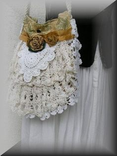 upcycled doily lace bag i bet my junque syster could make this!