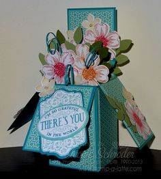 Box O' Flowers - I love these Card in a Box cards .. so lovely yet they fold flat to be posted!  Chalk Talk, Flower Shop, Petite Petals  click for details on class or order a kit #stampinup #cardinabox #constructioncard