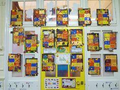 Art inspired by Gustav Klimt classroom display photo from ZB.