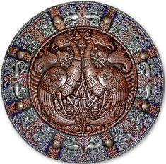 Волшебные птицы (панно-рондо) 2008 г. Алюминий, медь, латунь; чернение, холодная эмаль  90 х 90 см