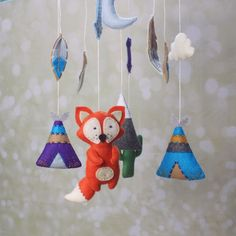 Felt tribal crib mobile  Felt baby boy/girl by MiracleInspiration