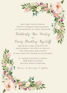 Vintage Blush Bohemian Floral Wedding Invitations by papernpeonies
