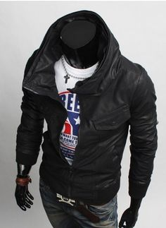MEN CASUAL RIDER HIGH NECK LEATHER JACKET, BIKER LEATHER JACKET