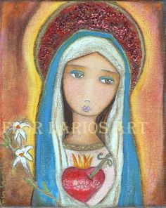 IMMACULATE HEART OF MARY  Folk Art  PRINT from by FlorLarios