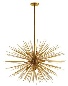 Zanadoo Large Chandelier: it was so popular we made the spokes longer to give it more volume. Still has 12 lights and is finished in antique brass. #zanadoolargechandelier #arteriors #chandelier #hotellifecollection - Luci@hotellifecollection.co.uk