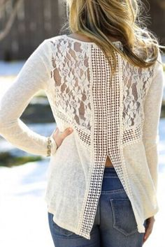 Love Love LOVE the Lace Back! White Lace Spliced White Long Sleeve Knitwear Long… - #bllusademujer #mujer #blusa #Blouse