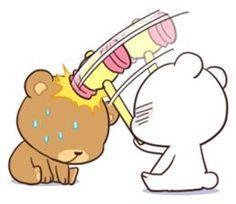 Bear Couple : Milk & Mocha by Shortie sticker Cute Cartoon Pictures, Cute Couple Cartoon, Cute Love Cartoons, Gif Lindos, Memes Lindos, Cute Love Gif, Cute Cat Gif, Moca, Gif Mignon