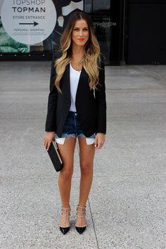 Black blazer white top t-shirt denim shorts purse heels. Passion For Fashion, Love Fashion, Fashion Beauty, Fashion Outfits, Fashion Clothes, Summer Outfits, Cute Outfits, Fall Outfits, Work Attire