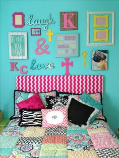 Girl's room-above the bed collage. Pottery Barn teen bedding.