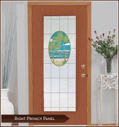 Add privacy and charm to your front door! Island Oasis Stained Glass Window Film - Vinyl Window Covering  WindowFilmWorld.com