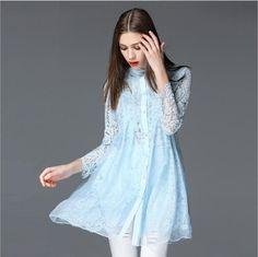 Women Blouses 2016 Plus Size Women Clothing New Product Suit-Dress LongSleeved Blouse Lace Hollow Out Pure Silk Shirt women top