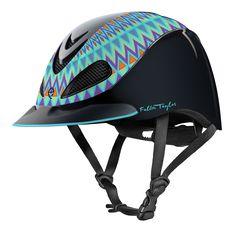 Troxel Fallon Taylor Aztec Helmet will give the rider a festive look. With the Aztec design created by Fallon Taylor, World Champion Barrel Racer, the rider will be comfortable in the western arena, or on a casual ride. New Self Locking Buckle G Horse Riding Helmets, Horse Riding Clothes, Riding Hats, Riding Gear, Rodeo Clothes, Horse Gear, Horse Tack, Dressage Horses, Breyer Horses
