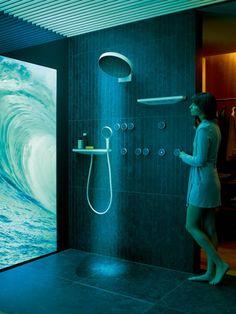 #bathroomdesign #interiordesign #bathroom #bathroomdecor #design #interior #homedecor Steam Showers Bathroom, Bathroom Spa, Bathroom Colors, Modern Bathroom, Digital Showers, Frosted Glass Door, Philips Hue, Infrared Sauna, Shower Panels